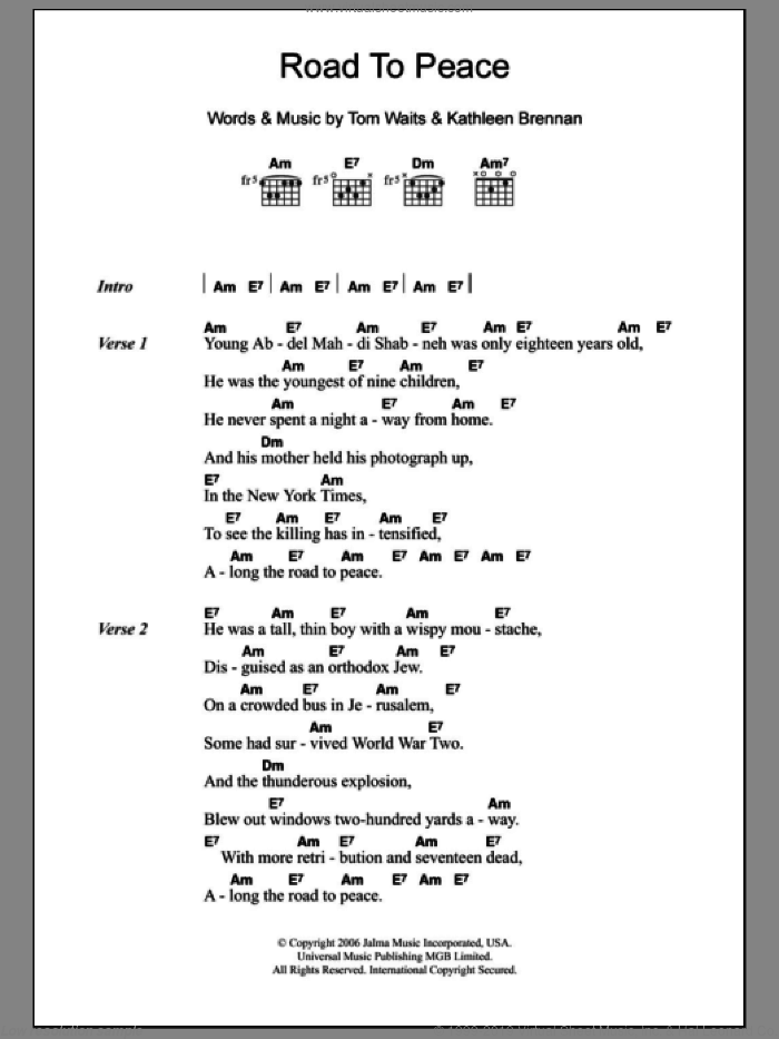 Road To Peace sheet music for guitar (chords) by Kathleen Brennan and Tom Waits. Score Image Preview.