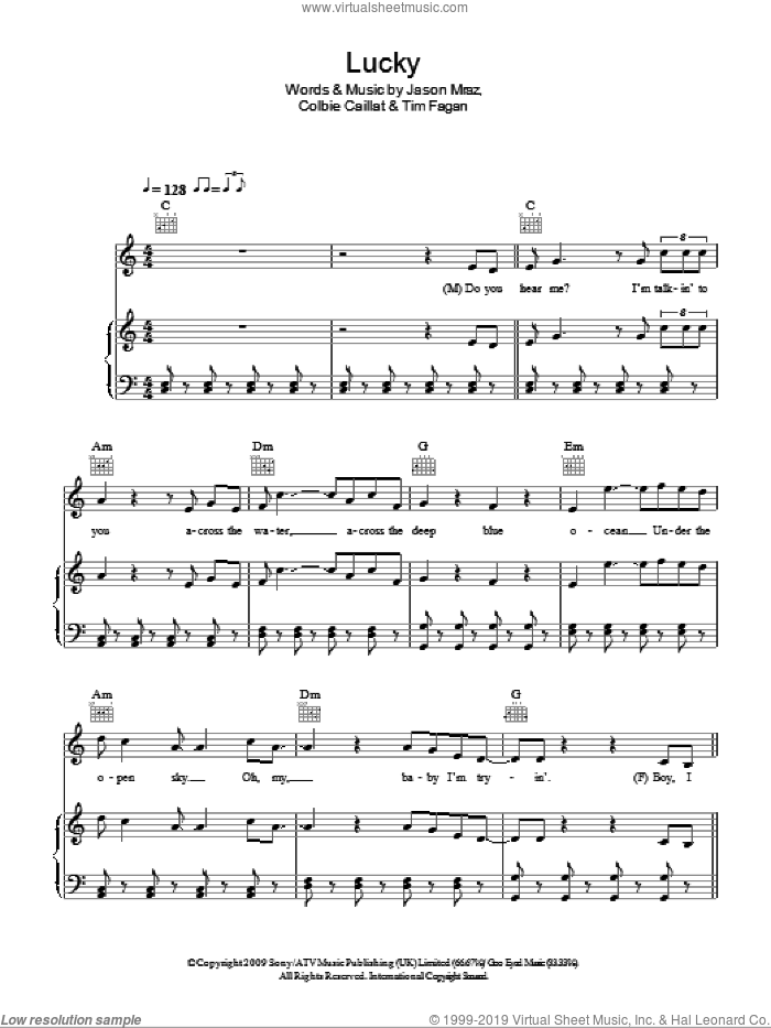 Lucky sheet music for voice, piano or guitar by Timothy Fagan, Glee Cast, Jason Mraz, Miscellaneous and Colbie Caillat. Score Image Preview.