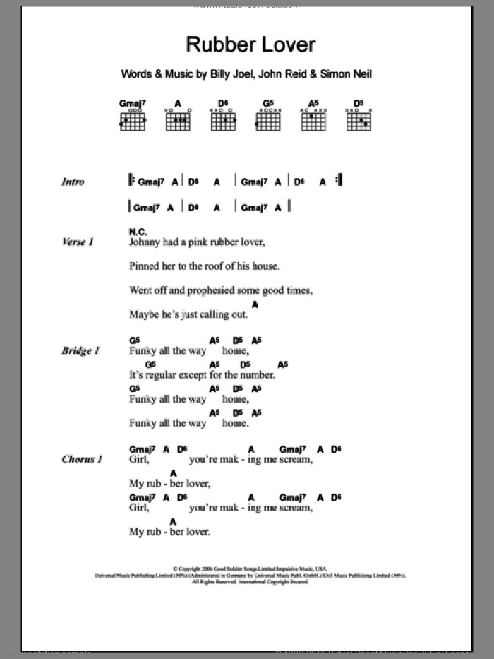 Rubber Lover sheet music for guitar (chords) by Marmaduke Duke, Billy Joel and John Reid. Score Image Preview.