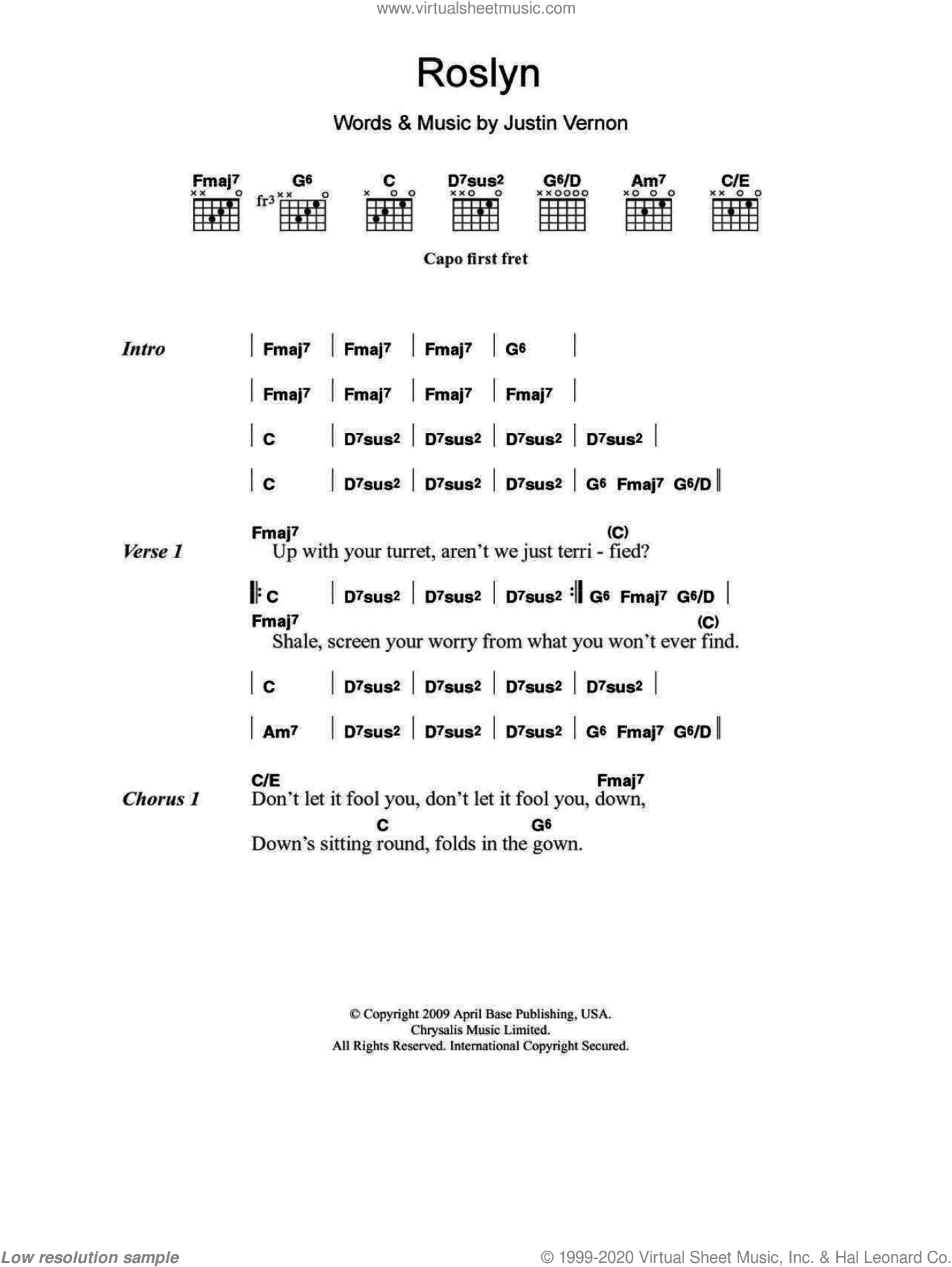 Roslyn sheet music for guitar (chords) by Bon Iver & St. Vincent. Score Image Preview.