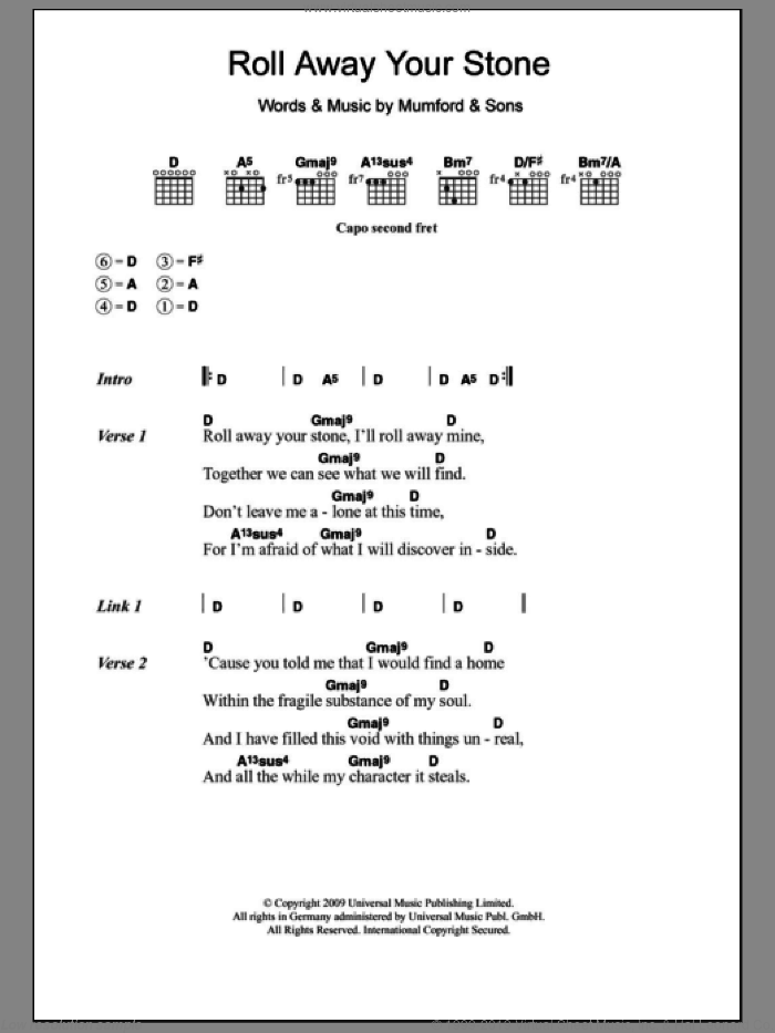 Roll Away Your Stone sheet music for guitar (chords, lyrics, melody) by Mumford & Sons