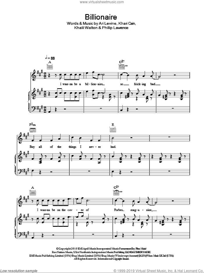 Billionaire sheet music for voice, piano or guitar by Glee Cast, Bruno Mars, Miscellaneous and Philip Lawrence, intermediate. Score Image Preview.