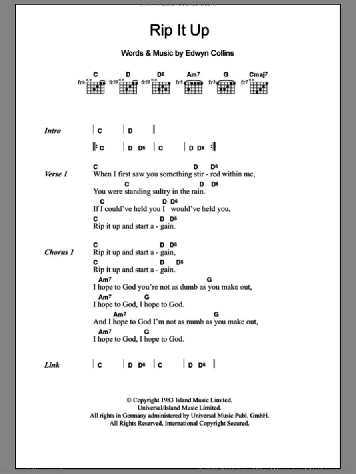 Rip It Up sheet music for guitar (chords) by Edwyn Collins. Score Image Preview.