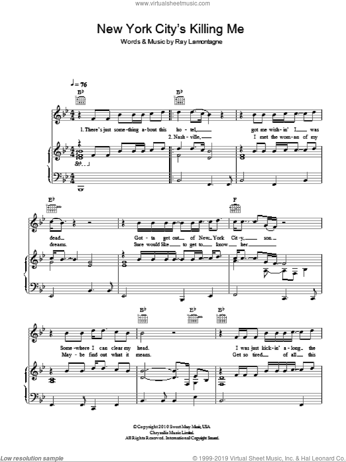 New York City's Killing Me sheet music for voice, piano or guitar by Ray LaMontagne. Score Image Preview.