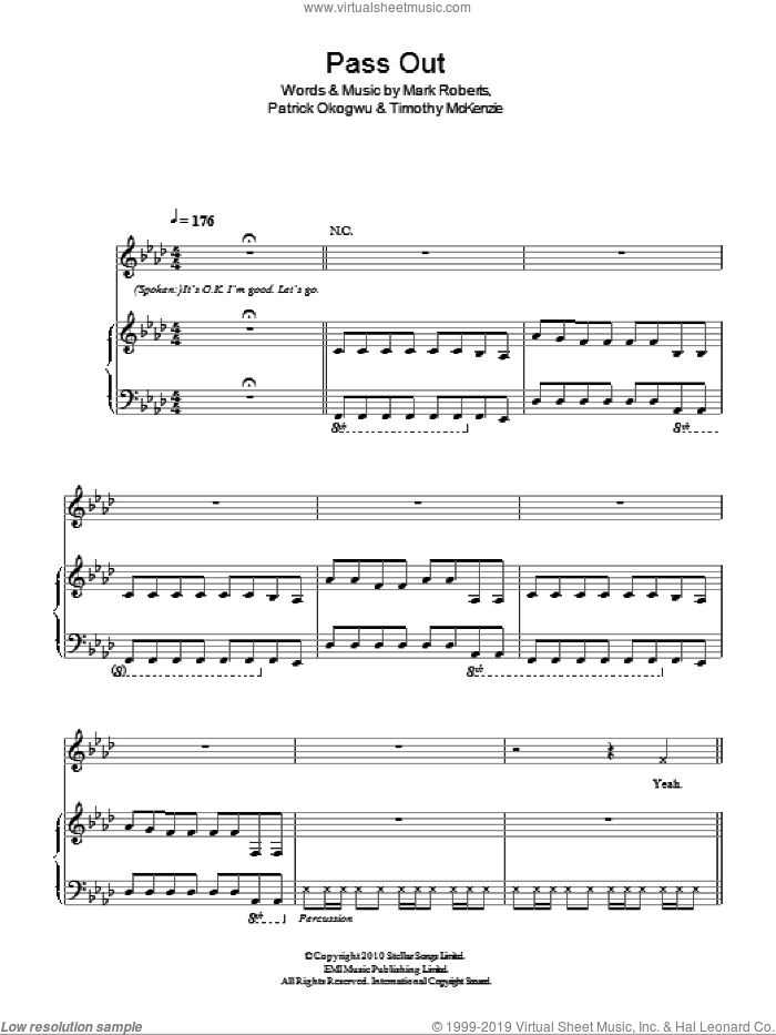 Pass Out sheet music for voice, piano or guitar by Timothy McKenzie