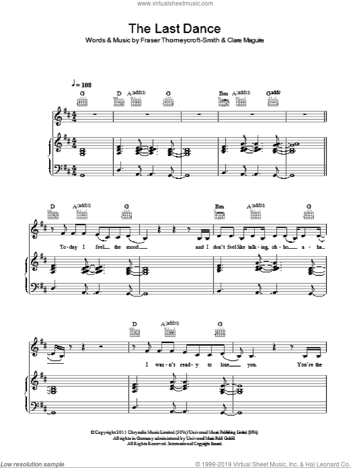 The Last Dance sheet music for voice, piano or guitar by Clare Maguire and Fraser Thorneycroft-Smith, intermediate skill level