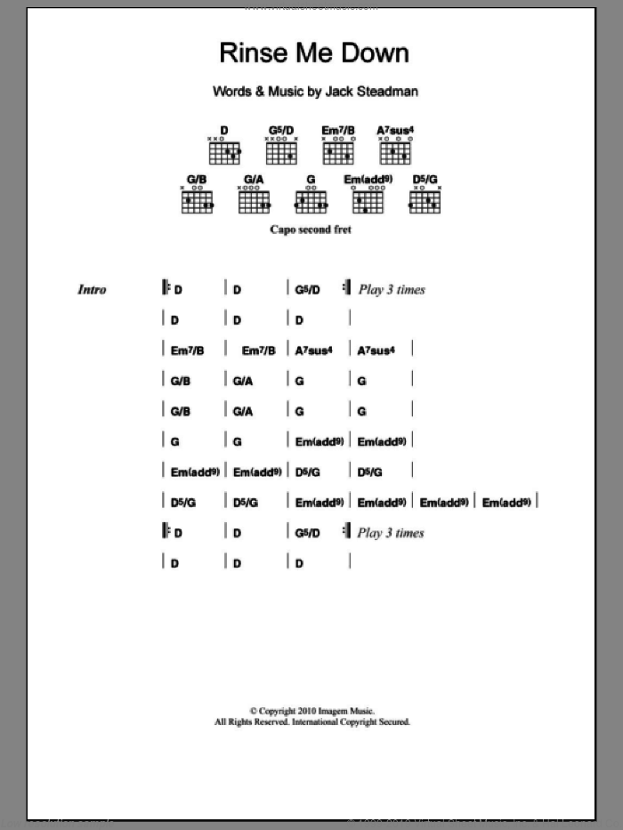 Rinse Me Down sheet music for guitar (chords) by Bombay Bicycle Club. Score Image Preview.