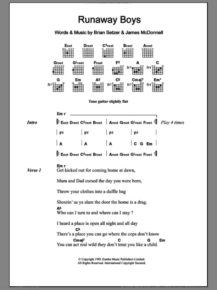 Runaway Boys sheet music for guitar (chords) by Stray Cats and Brian Setzer. Score Image Preview.