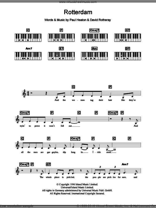 Rotterdam sheet music for piano solo (chords, lyrics, melody) by The Beautiful South. Score Image Preview.