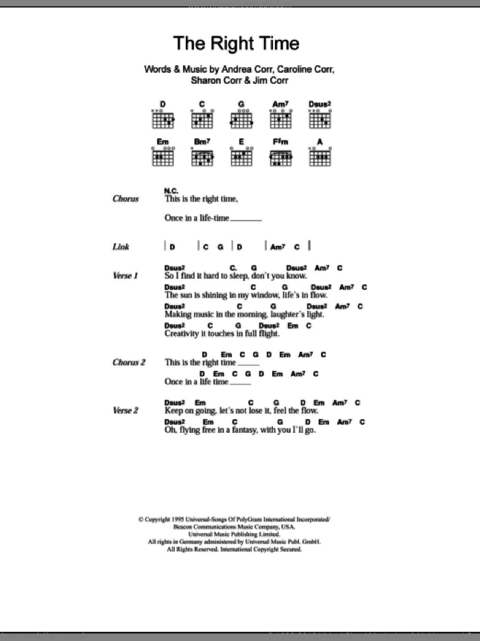 The Right Time sheet music for guitar (chords) by The Corrs, Andrea Corr, Caroline Corr, Jim Corr and Sharon Corr, intermediate skill level