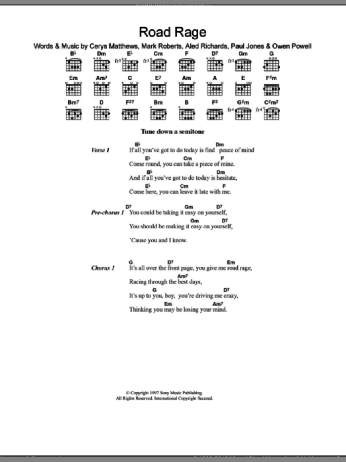 Road Rage sheet music for guitar (chords) by Catatonia, Aled Richards, Cerys Matthews, Mark Roberts, Owen Powell and Paul Jones, intermediate. Score Image Preview.