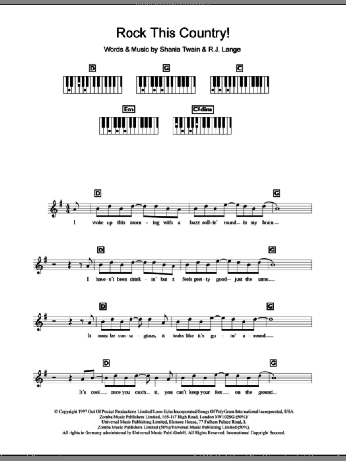 Rock This Country! sheet music for piano solo (chords, lyrics, melody) by Shania Twain and Robert John Lange. Score Image Preview.