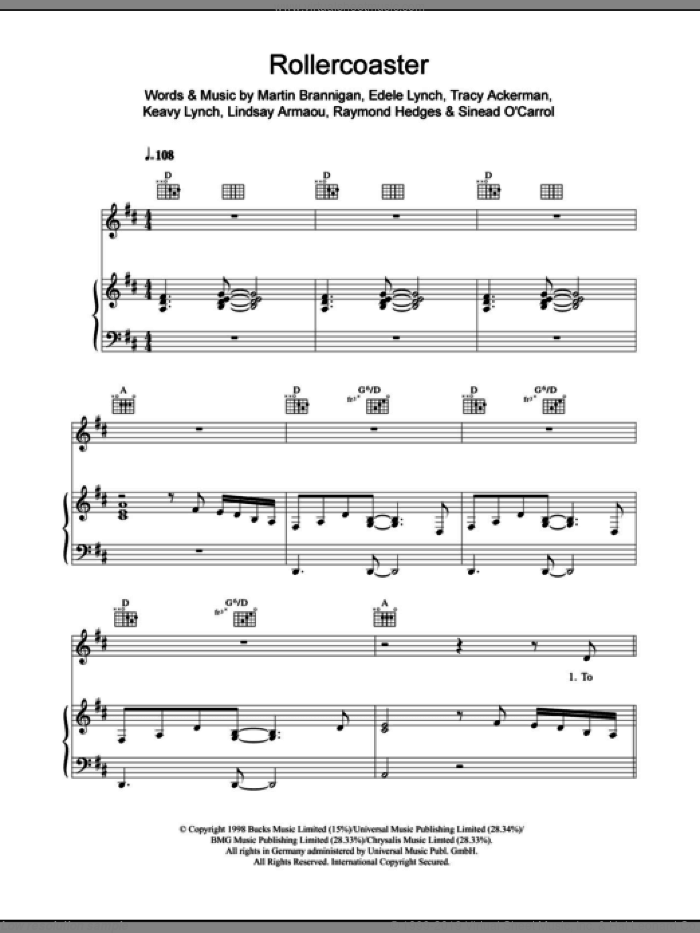 Rollercoaster sheet music for voice, piano or guitar by Tracy Ackerman. Score Image Preview.