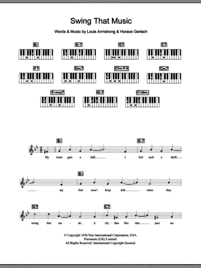 Armstrong - Swing That Music sheet music for piano solo (chords, lyrics,  melody)