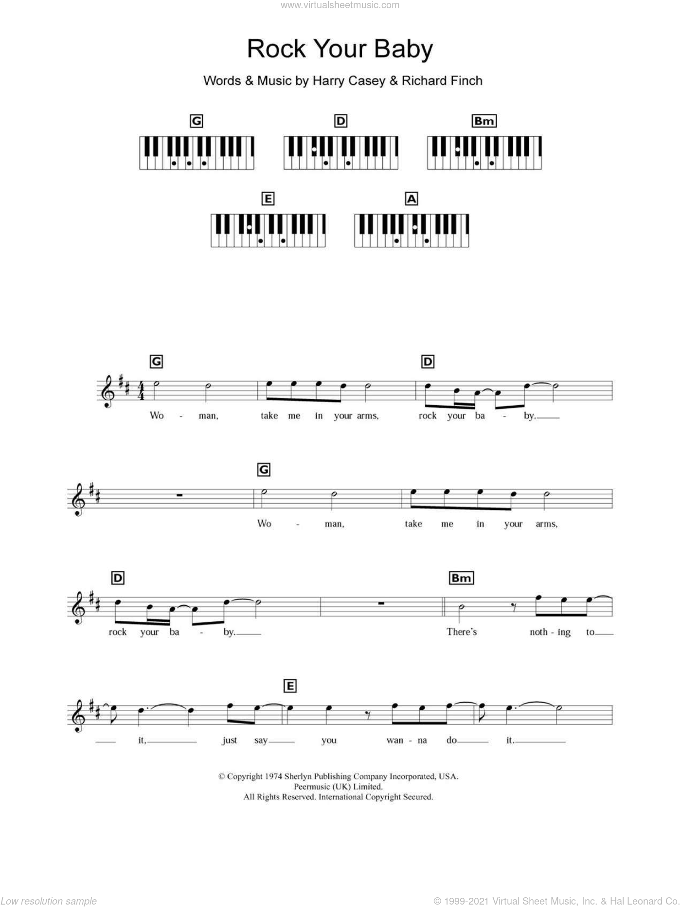 Rock Your Baby sheet music for piano solo (chords, lyrics, melody) by Richard Finch