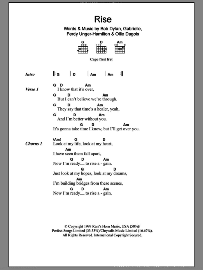 Rise sheet music for guitar (chords) by Ollie Dagois, Bob Dylan and Gabrielle. Score Image Preview.