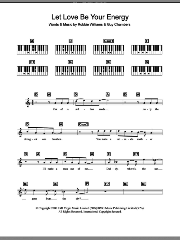 Let Love Be Your Energy sheet music for piano solo (chords, lyrics, melody) by Guy Chambers and Robbie Williams. Score Image Preview.
