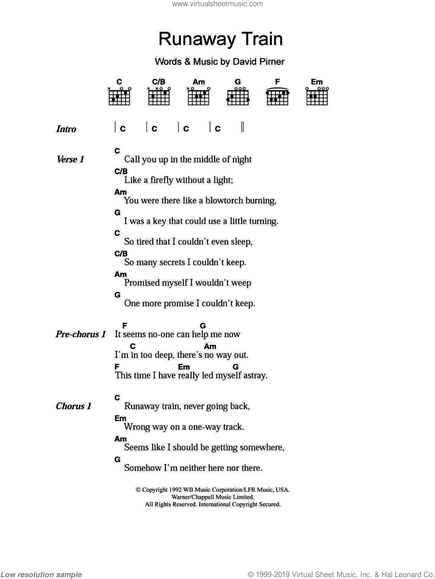 Runaway Train sheet music for guitar (chords) by Soul Asylum and David Pirner, intermediate guitar (chords). Score Image Preview.