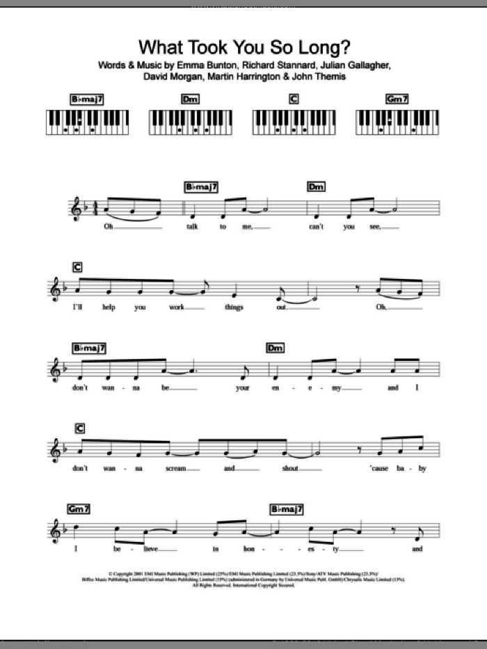 What Took You So Long? sheet music for piano solo (chords, lyrics, melody) by Emma Bunton and Richard Stannard, intermediate piano (chords, lyrics, melody). Score Image Preview.