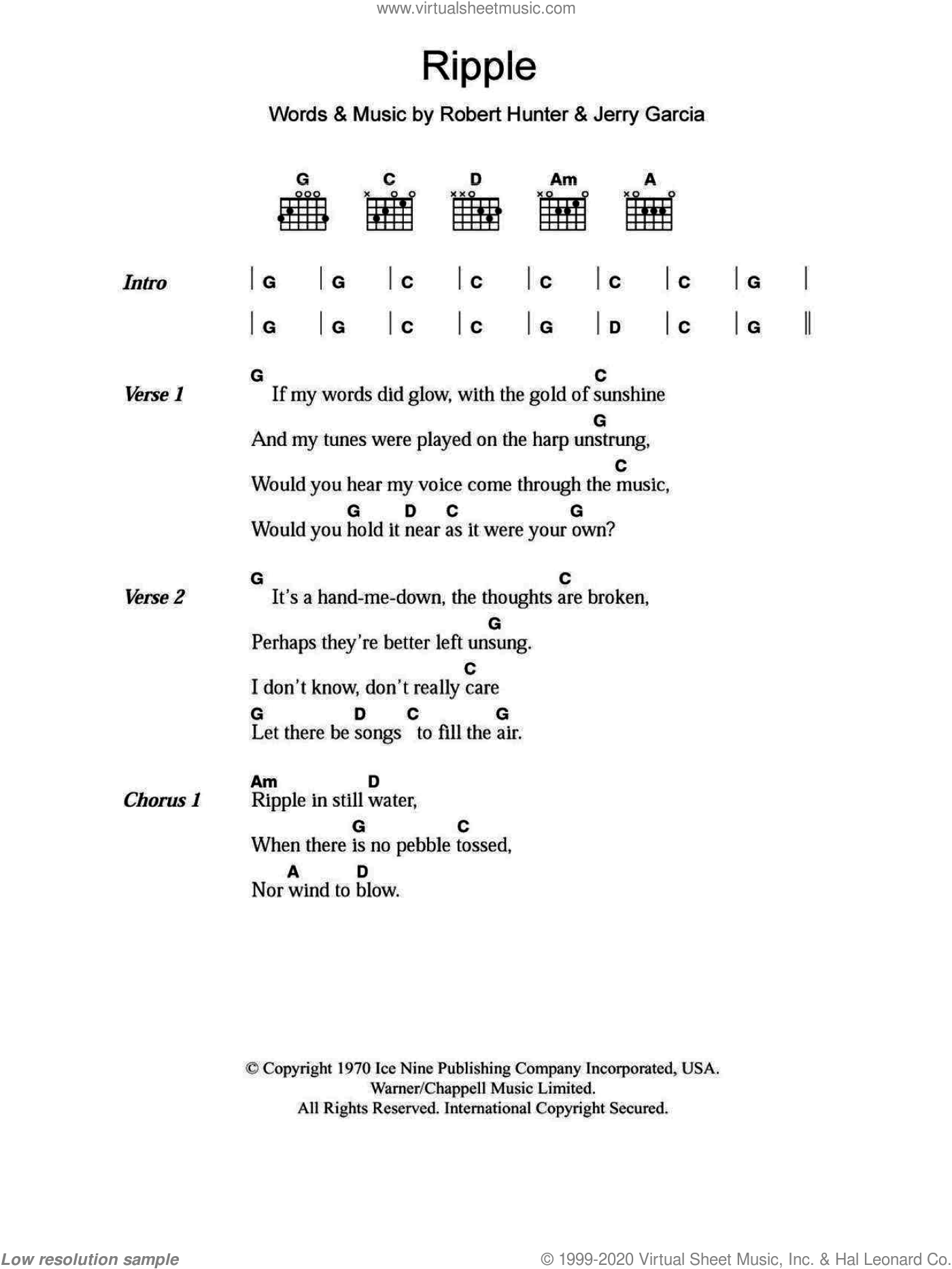Dead - Ripple sheet music for guitar (chords) [PDF]