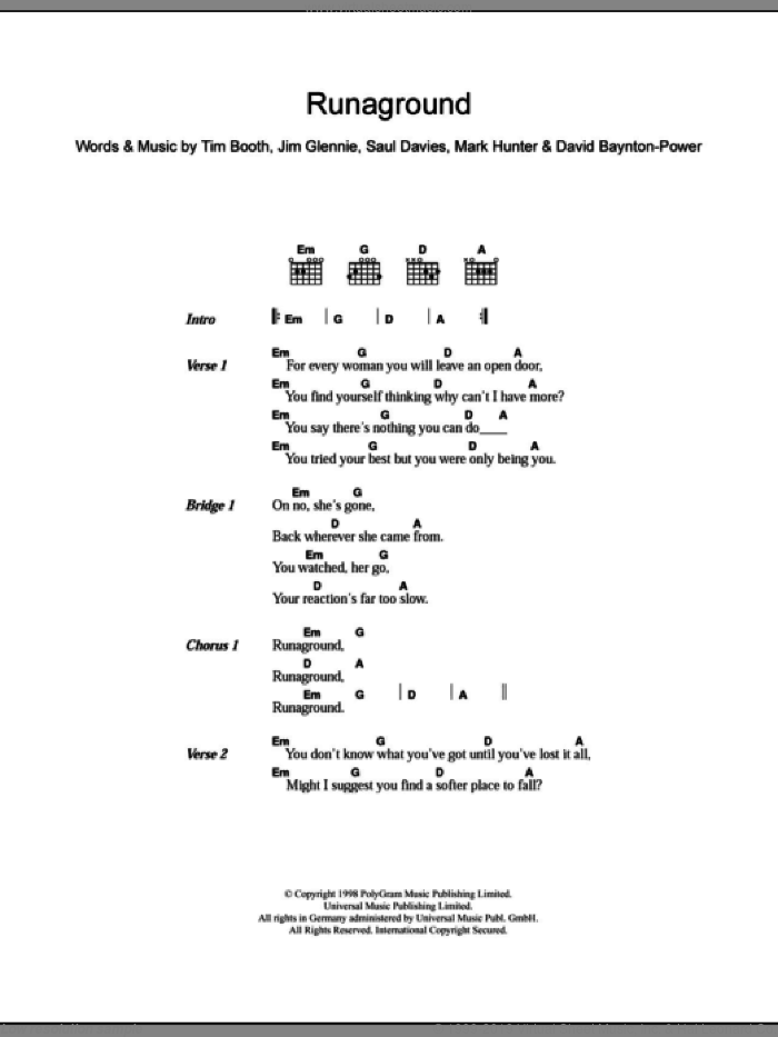 Runaground sheet music for guitar (chords) by Alex James, David Baynton-Power, Jim Glennie, Mark Hunter, Saul Davies and Tim Booth, intermediate skill level
