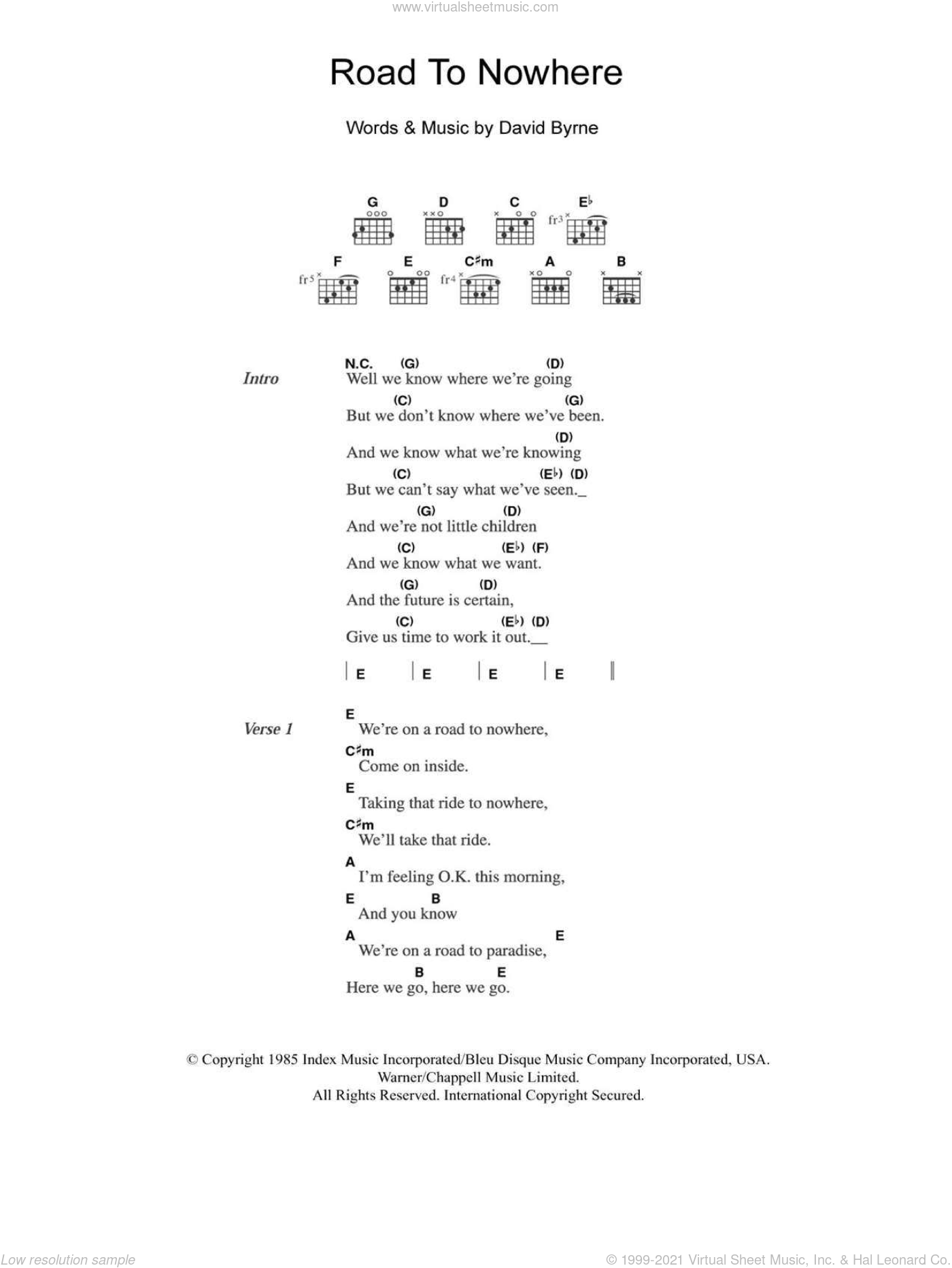 Road To Nowhere sheet music for guitar (chords, lyrics, melody) by David Byrne