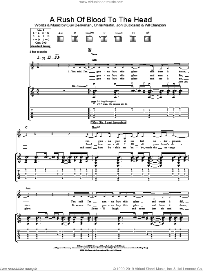 A Rush Of Blood To The Head sheet music for guitar (tablature) by Will Champion, Coldplay, Chris Martin, Guy Berryman and Jon Buckland. Score Image Preview.