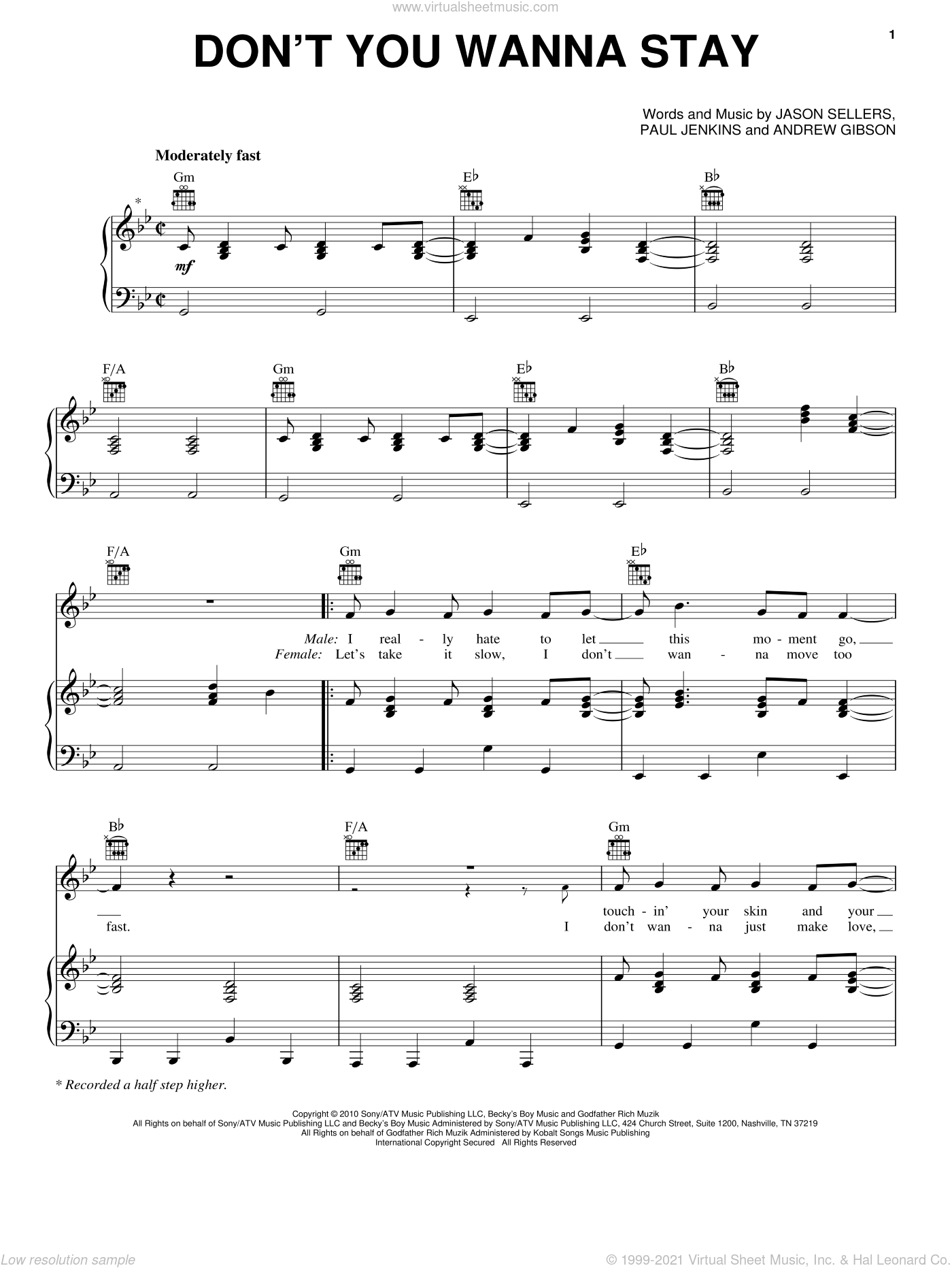 Don't You Wanna Stay sheet music for voice, piano or guitar by Paul Jenkins