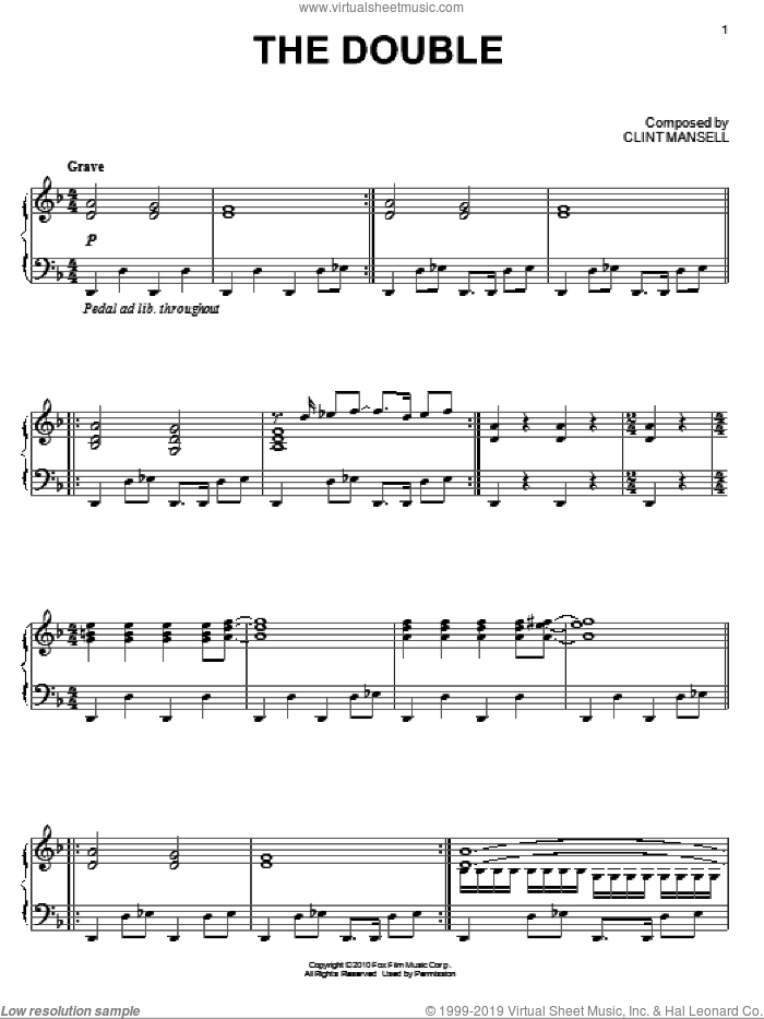 The Double sheet music for piano solo by Clint Mansell, intermediate piano. Score Image Preview.