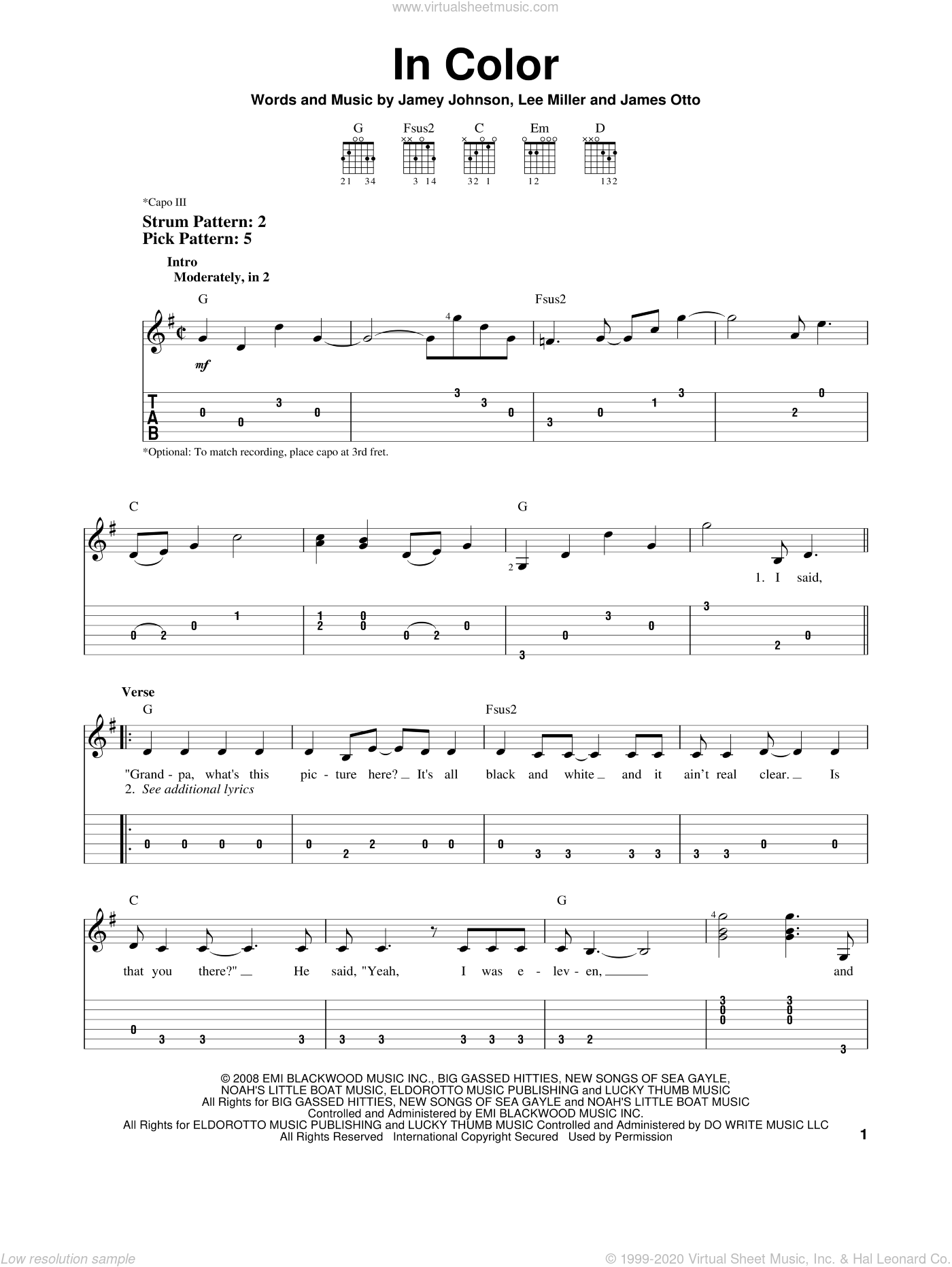 In Color sheet music for guitar solo (easy tablature) by Jamey Johnson, James Otto and Lee Thomas Miller, easy guitar (easy tablature). Score Image Preview.
