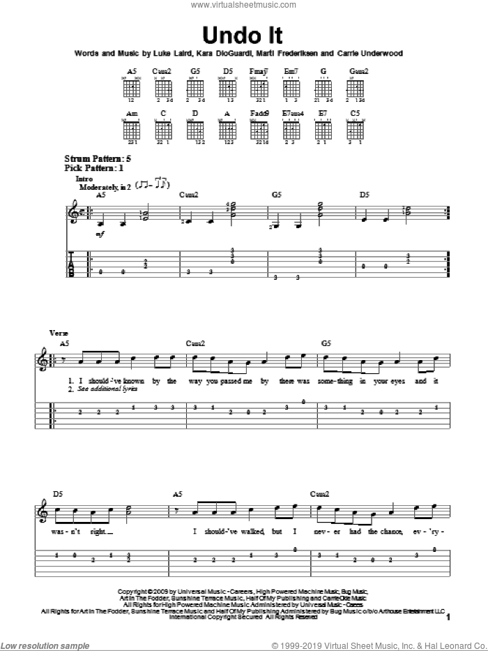 Undo It sheet music for guitar solo (easy tablature) by Marti Frederiksen, Carrie Underwood, Kara DioGuardi and Luke Laird. Score Image Preview.