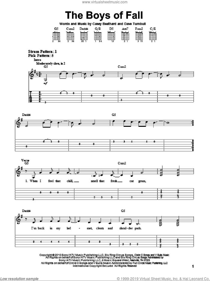 The Boys Of Fall sheet music for guitar solo (easy tablature) by Kenny Chesney, easy guitar (easy tablature)