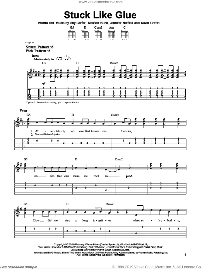 Stuck Like Glue sheet music for guitar solo (easy tablature) by Shy Carter, Sugarland, Jennifer Nettles, Kevin Griffin and Kristian Bush. Score Image Preview.