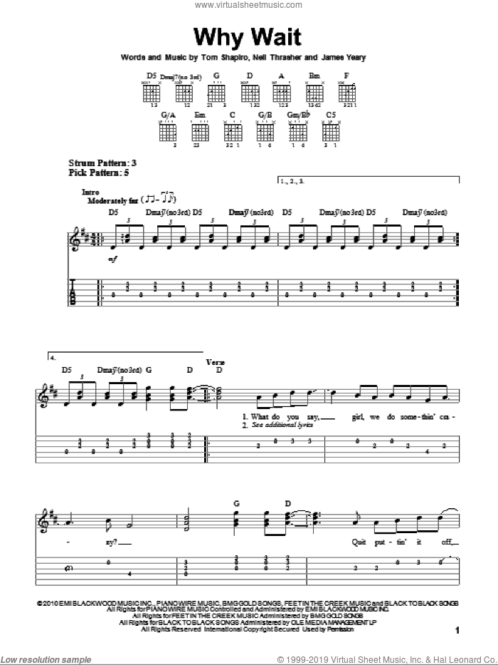 Why Wait sheet music for guitar solo (easy tablature) by Tom Shapiro, Rascal Flatts and Neil Thrasher. Score Image Preview.