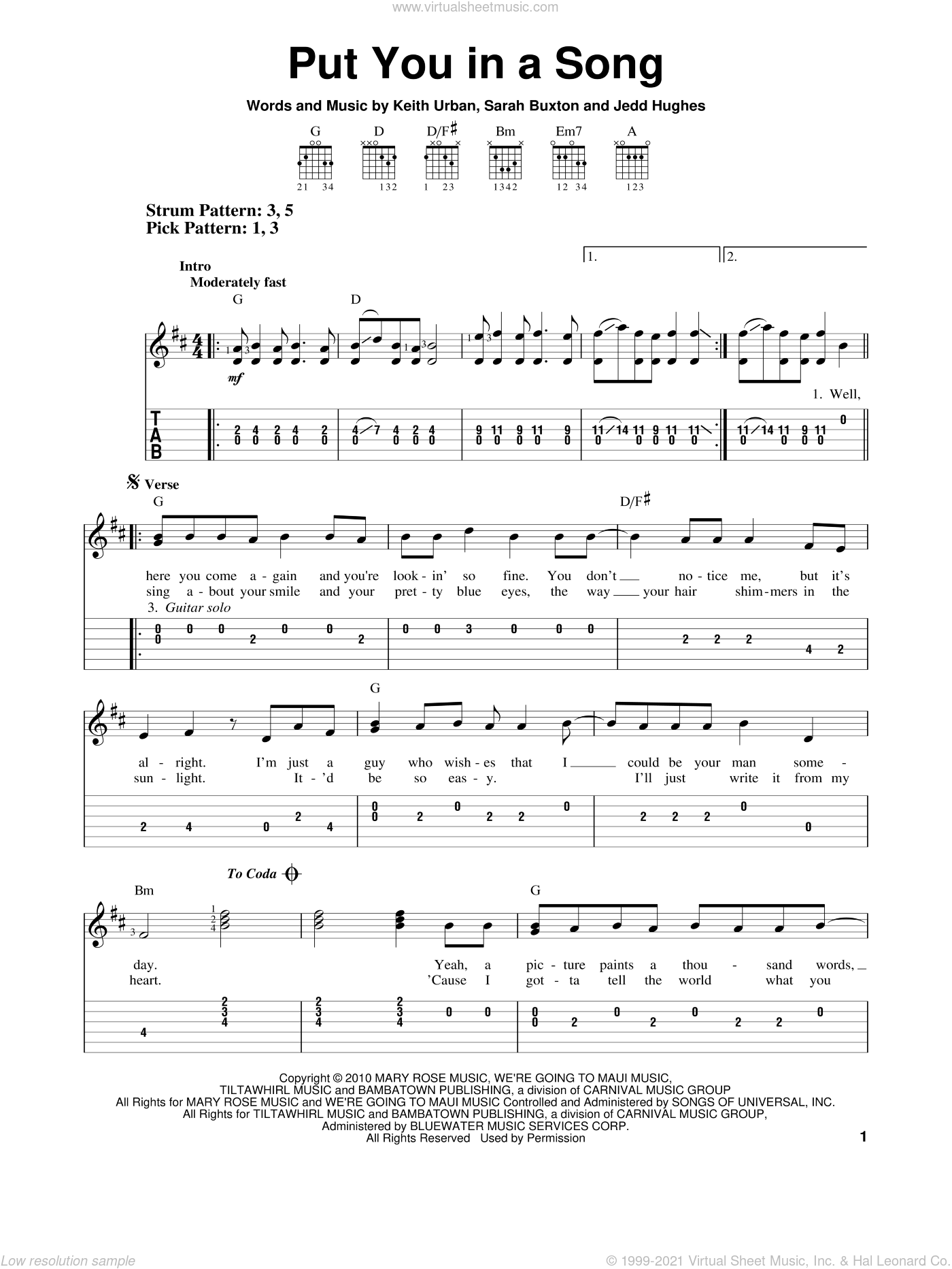 Put You In A Song sheet music for guitar solo (easy tablature) by Sarah Buxton and Keith Urban. Score Image Preview.