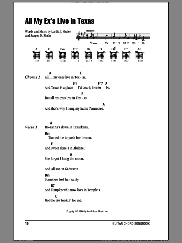 All My Ex's Live In Texas sheet music for guitar (chords) by George Strait, Lyndia J. Shafer and Sanger D. Shafer, intermediate