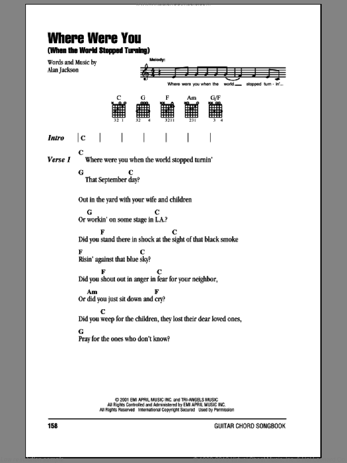 Where Were You (When The World Stopped Turning) sheet music for guitar (chords) by Alan Jackson