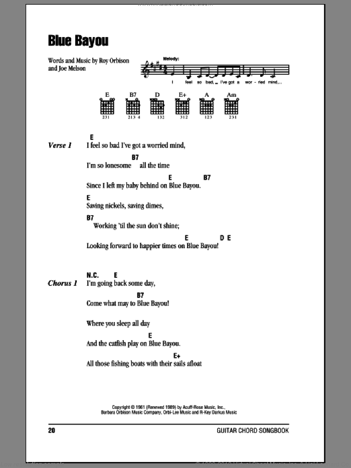 Blue Bayou sheet music for guitar (chords) by Joe Melson, Linda Ronstadt and Roy Orbison