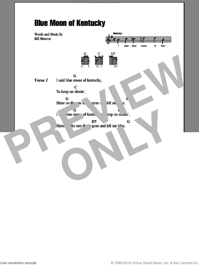 Blue Moon Of Kentucky sheet music for guitar (chords, lyrics, melody) by Bill Monroe