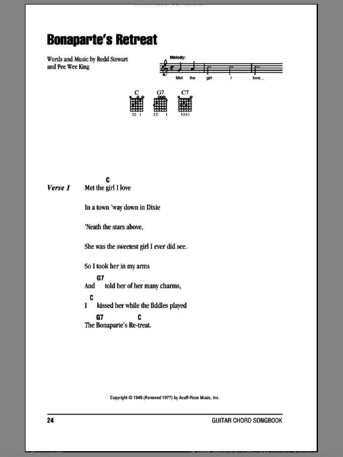 Bonaparte's Retreat sheet music for guitar (chords) by Glen Campbell, Pee Wee King and Redd Stewart, intermediate skill level