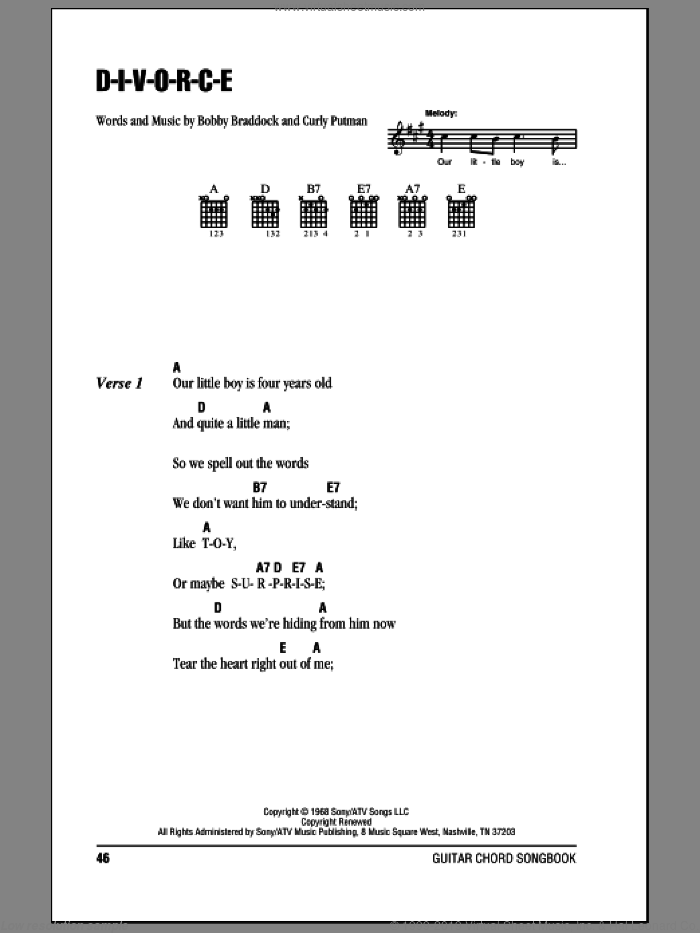 D-I-V-O-R-C-E sheet music for guitar (chords) by Tammy Wynette and Curly Putman. Score Image Preview.