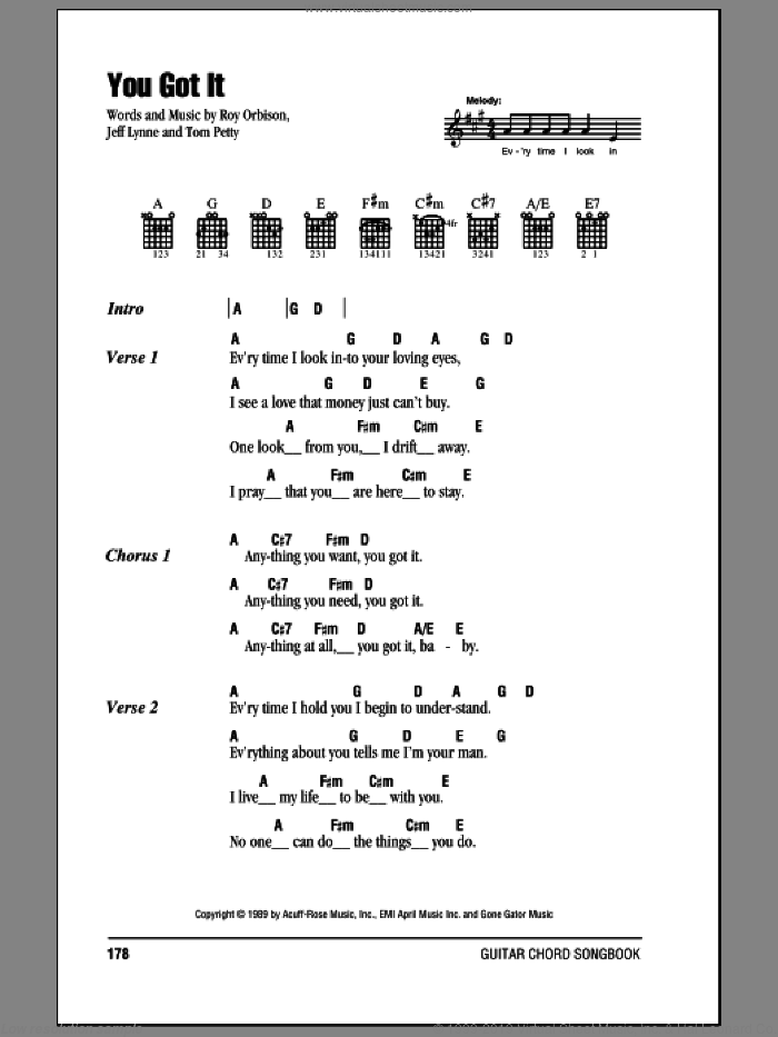 You Got It sheet music for guitar (chords) by Roy Orbison, Jeff Lynne and Tom Petty, intermediate skill level