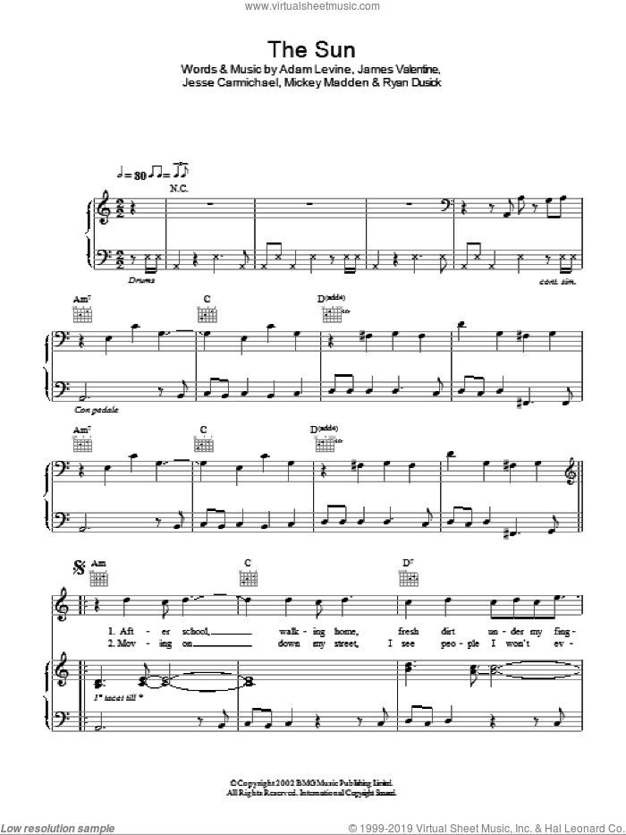 The Sun sheet music for voice, piano or guitar by Ryan Dusick, Maroon 5, Adam Levine, James Valentine, Jesse Carmichael and Michael Madden. Score Image Preview.