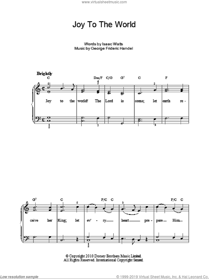 Joy To The World sheet music for piano solo by Isaac Watts, easy skill level