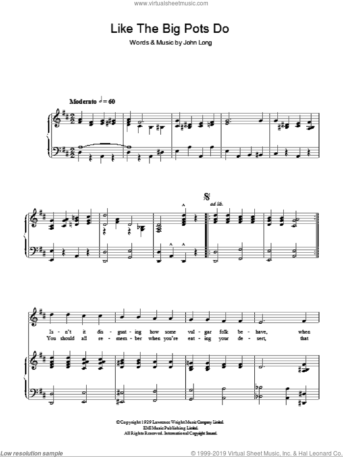 Like The Big Pots Do sheet music for voice, piano or guitar by John Long