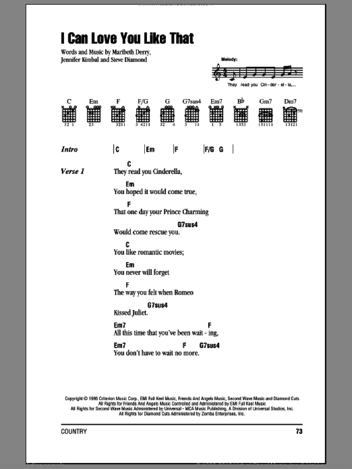 I Can Love You Like That sheet music for guitar (chords, lyrics, melody) by Steve Diamond