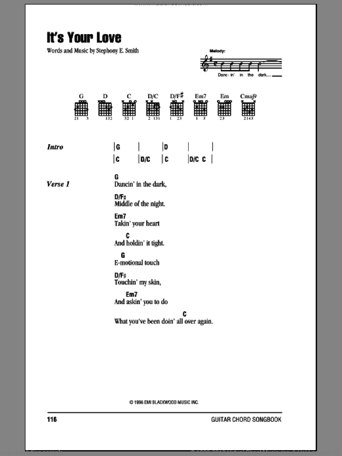 It's Your Love sheet music for guitar (chords) by Stephony E. Smith