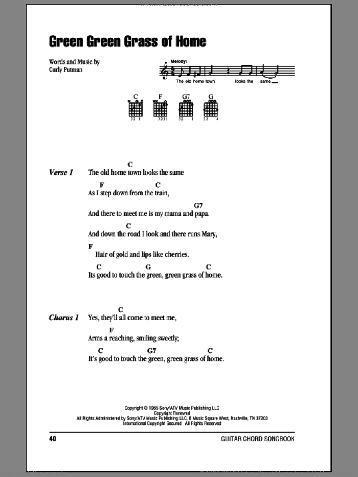 Green Green Grass Of Home sheet music for guitar (chords) by Porter Wagoner, Elvis Presley, Tom Jones and Curly Putman. Score Image Preview.