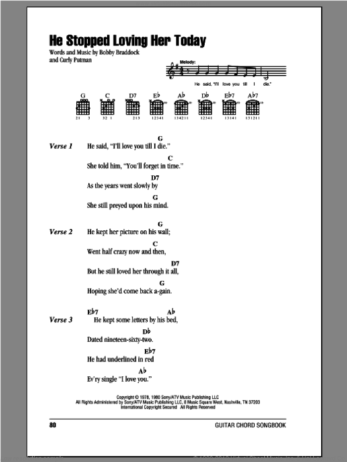 He Stopped Loving Her Today sheet music for guitar (chords) by Curly Putman, George Jones and Bobby Braddock. Score Image Preview.