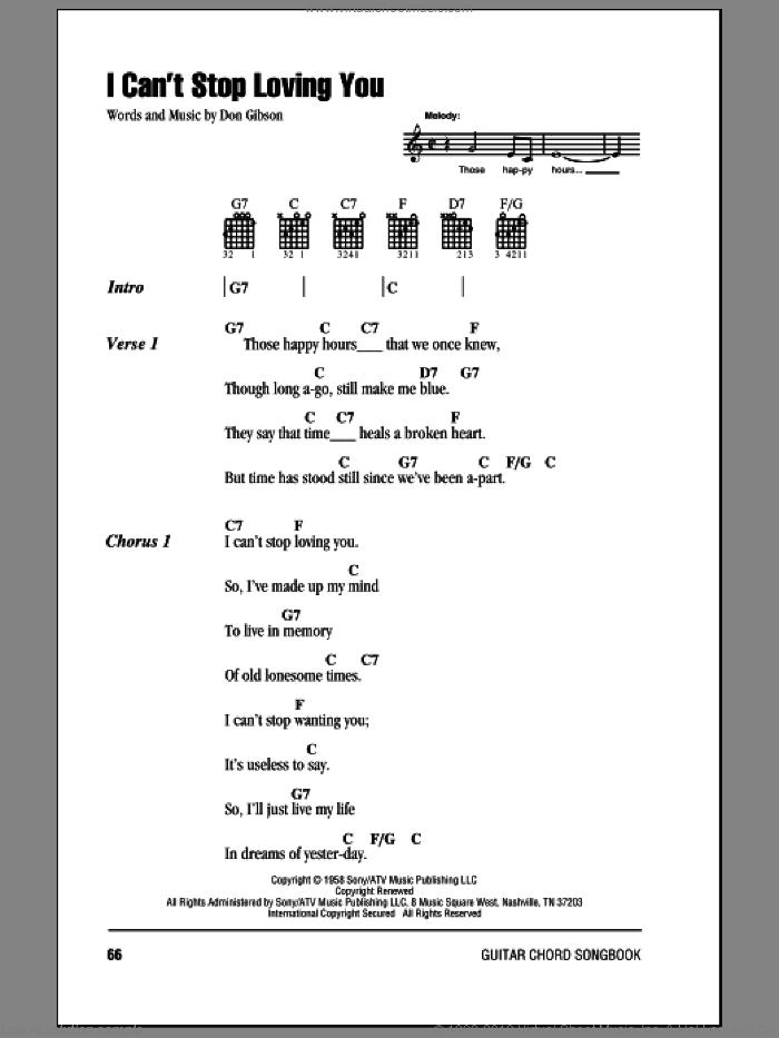 Gibson - I Can\'t Stop Loving You sheet music for guitar (chords)